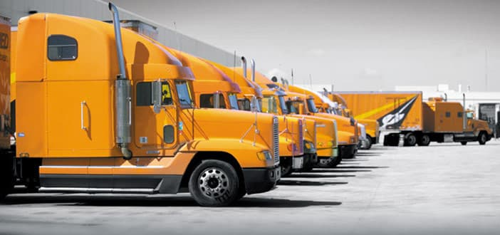 Fleet of Allied Van Lines Trucks